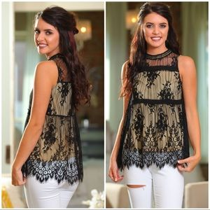 Black and Nude lace overlay top
